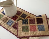 """CIVIL WAR Raggy Patches Quilted TABLERUNNER, 11 3/4"""" x 37"""",  Scrappy Patchwork, Quilted Table Topper, Handmade Quilted Table Linens"""