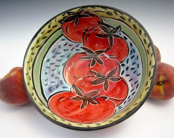 Ceramic Pottery Red Tomato Bowl - Majolica Bowl - Medium Serving Kitchen Bowl - Fruit Bowl - Pottery Bowl - Tomato Salsa - Farm rustic