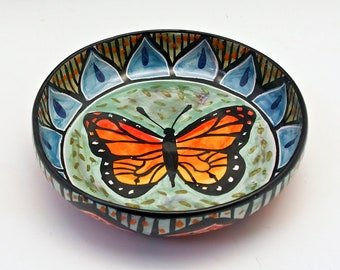 Medium Ceramic Monarch Butterfly Pasta Bowl - Majolica Pottery Bowl - Boyfriend / Girlfriend Gift - Wide Serving Salad Dish - Mandala Design
