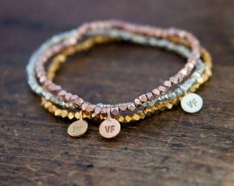 SALE Bead Bracelet, layering, summer beach bracelet in silver, rose gold or gold.