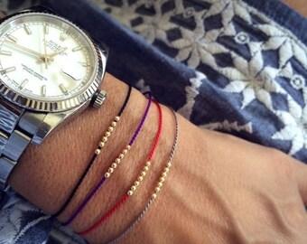 SALE 14k solid gold Seven Wish bracelet, friendship bracelet, silk bracelet, 14k solid gold