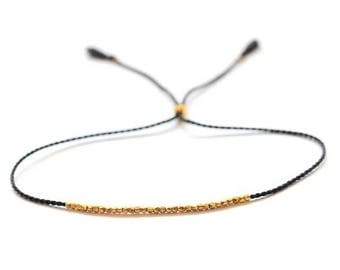 SALE Delicate gold bracelet. Silk bracelet. Friendship bracelet