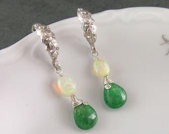 Green garnet earrings, handmade sterling silver, Ethiopian welo opal, and tsavorite garnet earrings-OOAK
