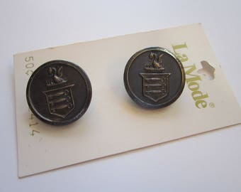 2 vintage buttons - DRAGON with keys - La Mode carded buttons - metal buttons