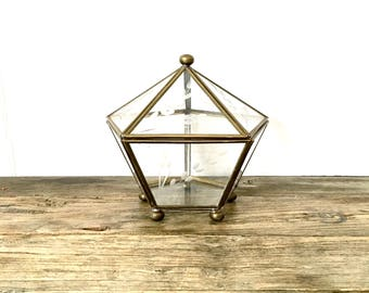 Brass and Glass Display case with ball feet / trinket box / Brass terrarium display case