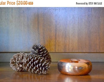 CIJ SALE 25% OFF vintage copper candle stick holder / coppercraft guild / fall decor / vintage rustic home decor