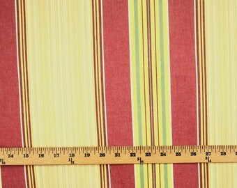Gold Red Striped Fabric