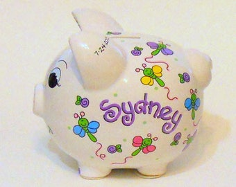 Piggy Bank with Bright Dragonflies Personalized in Purple