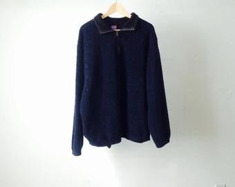 90s FLEECE color block NAVY BLUE thermal snowboard jacket