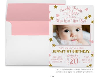 Twinkle Twinkle, Little Star, Do You Know, How Loved, Gold Glitter, Pink Star, Nursery Rhyme, Photo Invitation, Printable Digital, Printed