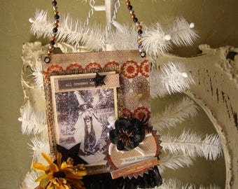 Victorian Halloween paper ornament vintage Halloween photo decorations mixed media mini sign vintage Halloween people in costumes cottage