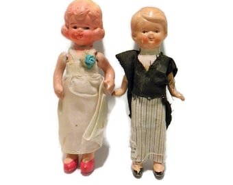 Antique Frozen Charlotte Dolls Bride and Groom Marked Japan / Bride Groom Cake Topper /  Tattered Couple In Need of a Loving Home