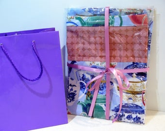 Gift Set - Peg bag and matching ironing board cover - fine china tea cups and teapots