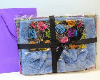 Gift Set - Ironing board cover with matching hand towel - bright small roses blue pink purple green yellow orange