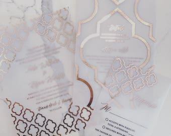 Angela Moroccan Invitation Suite | Translucent Vellum with Gold Foil  {customizable}