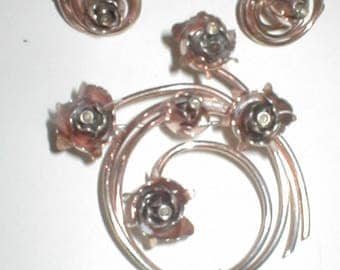 Antique Vintage Sterling Silver Brooch Pin and Earring Set