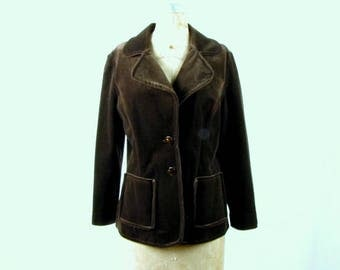 Vintage 1970s Brown Brushed Velvet Jacket ~ Butte Knit ~ Small