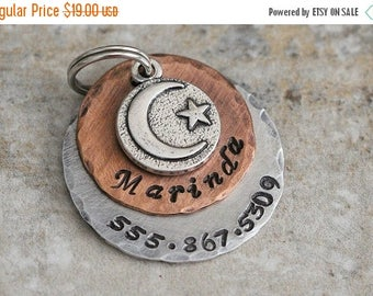 Star and Moon / Celestial / Pet ID Tag / Key Chain / Dog Tag / Personalized / Silver / Copper / Designer / Night Sky / Space / Handmade A093