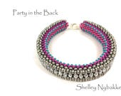 Party in the Back Bracelet DIY Kit  -  Pink-Silver Oxide/Silver Etched Firepolish