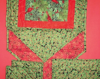 Cardinals in the Pines-Window Pane pattern Handmade-Quilted-Table Runner-Table Mat-2 Hot Pads-Made in USA by MJ Quilts