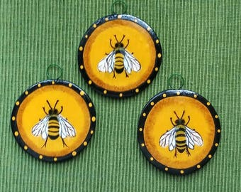 """Hand sculpted, hand painted polymer clay 3"""" Bee ornament"""