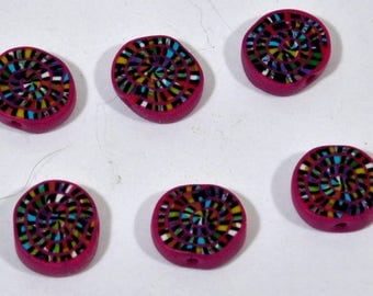 Polymer Clay Beads in Multi-Colored Swirls -set of six