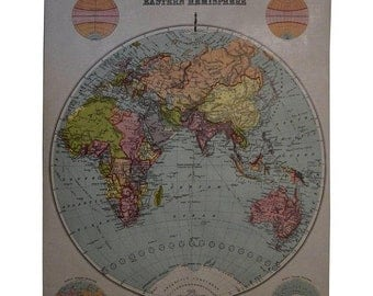 ON SALE Early 20th Century Map of the Eastern Hemisphere, 1916 Edition