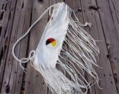 White buckskin beaded flute bag , four direction beadwork ,