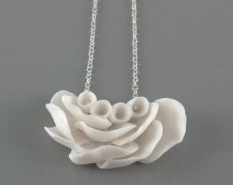 SALE White Flower Statement Pendant  Necklace  , Sterling Silver  and  Porcelain  Il De Re , Ceramic Handmade Jewelry Necklaces ,Gift for he