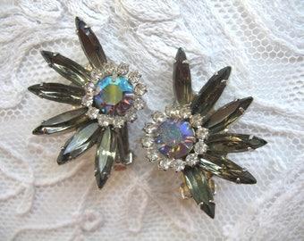 Vintage Rhinestone Earrings ~ Clip On ~ Smokey Grey & Bluish AB Rhinestones