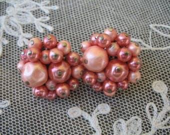 Vintage Cluster Beaded Earrings ~ Clip On ~ Pink Pearl Beads