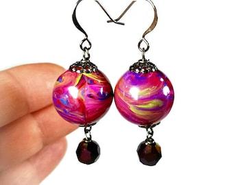 Colorful Bead Dangle Earrings, Multi Color Earrings, Purple Earrings, Drop Earrings, Lightweight