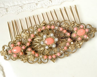 Antique 1930's Gold Filigree Coral & Pearl Dress Sash Brooch OR Bridal Hair Comb, Autumn Fall Vintage Wedding Art Deco Pin/OOAK Hairpiece