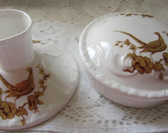 Set of Two Royal Grafton Fine Bone Chine Ceramic Covered Dish and Matching Candle Stick Made in England