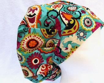 Bouffant Surgical Scrub Hat, Scrub Cap for Woman, Ties into a Ponytail Scrub Hat. Green Paisley