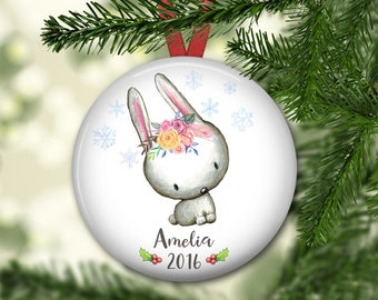 personalized Christmas ornaments for baby - baby's first christmas ornament - bunny Christmas ornaments for kids - ORN-PERS-6F