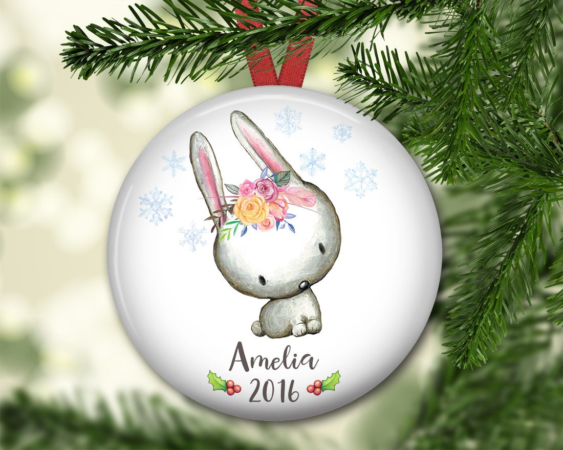 Baby Christmas Ornaments Part - 36: Personalized Christmas Ornaments For Baby - Babyu0027s First Christmas Ornament  - Bunny Christmas Ornaments For Kids - ORN-PERS-6F