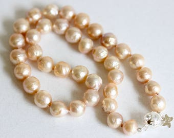 Hand Knotted Natural Pearl Necklace, Pink, Natural Pearl Necklace, Large Pearls, Sterling Silver, Filigree Clasp