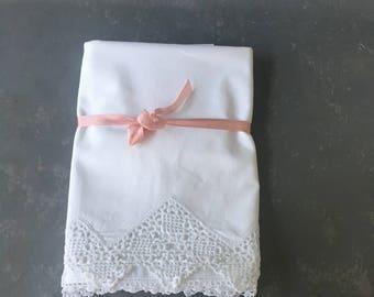 Vintage Cotton Pillowcases, set, white on white,  crocheted, wedding gift, shower gift