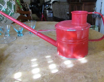 Vintage Red Watering Can, Large Metal Watering Can, Gardening Home Watering Can, Home and Living, Outdoor & Gardening, Watering and Hoses