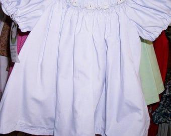 Pale lavender dress with rabbits around the bishop neckline -  size 3 months
