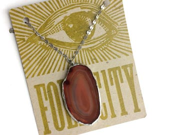 Healing Crystal Necklace with Carnelian Agate Slice Pendant