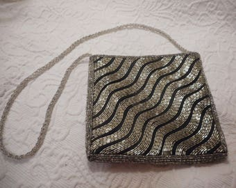Clovis Ruffin for Genie Vintage Silver Sequined w/Black Evening Shoulder Bag