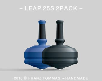LEAP 25S 2PACK Blue-Black – Value-priced set of precision handmade polymer spin tops with ceramic tip and rubber grip