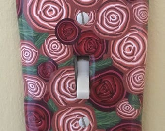 Roses Switchplate . Polymer Clay Cane