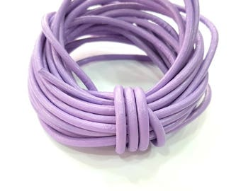 Leather Lilac Cord 1mt-3.3 ft (4mm) Round Leather Lacing G7929