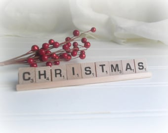 Christmas Scrabble Letter Sign Rustic Farmhouse Christmas