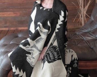 Large soft & warm Alpaca Wool blanket indians design, double sided