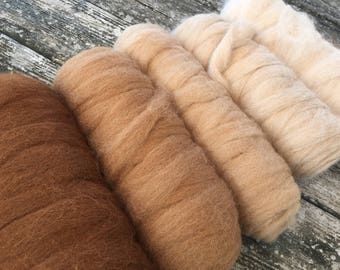"Alpaca blanket roving color pack, ""Caramels"" 20oz perfect for super bulky yarn"