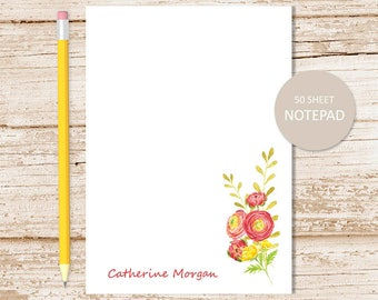 personalized floral notepad . red yellow flowers note pad . womens personalized stationery . botanical stationary . to do list . watercolor